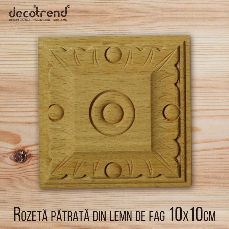 Rozeta patrata din lemn de fag H-085-10