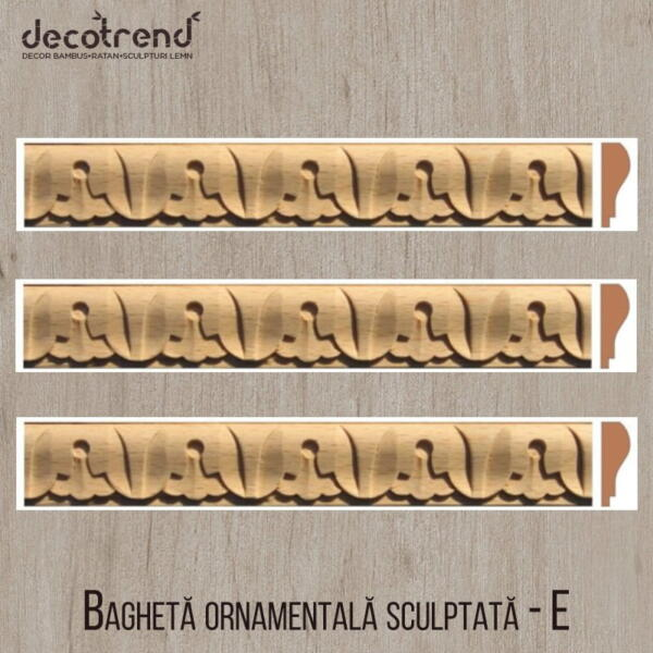 Bagheta ornamentala sculptata din lemn de fag E