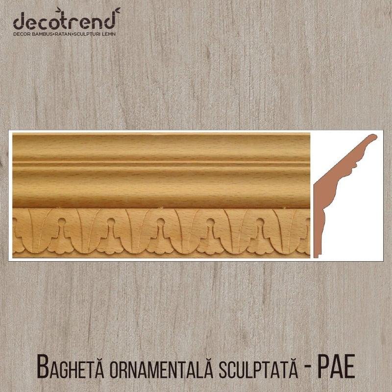 Bagheta ornamentala sculptata din lemn de fag PAE