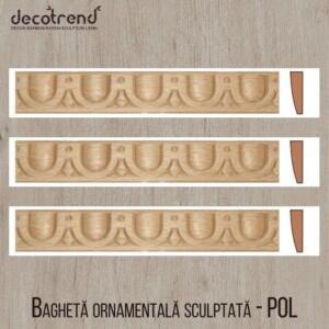 Bagheta ornamentala sculptata din lemn de fag POL