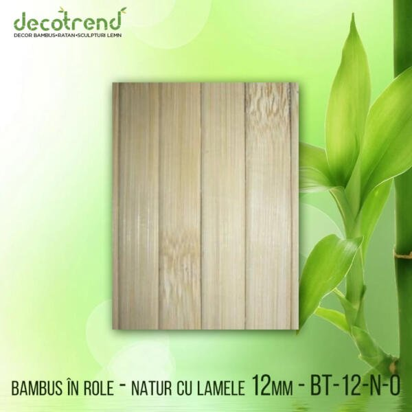 BT-12-N-0 Bambus în role - natur cu lamele 12mm